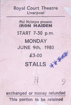 Image of my Iron Maiden concert ticket