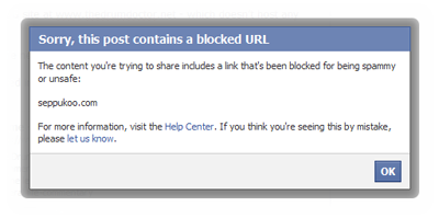 Seems like Facebook don't like websites who actively encourage taking their advertising revenue away...